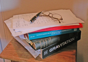 textbooks (gravitation, thermodynamics) and papers with equations