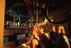 Students inside telescope