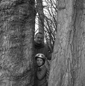 father and son in trees