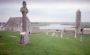 Stone crosses and river